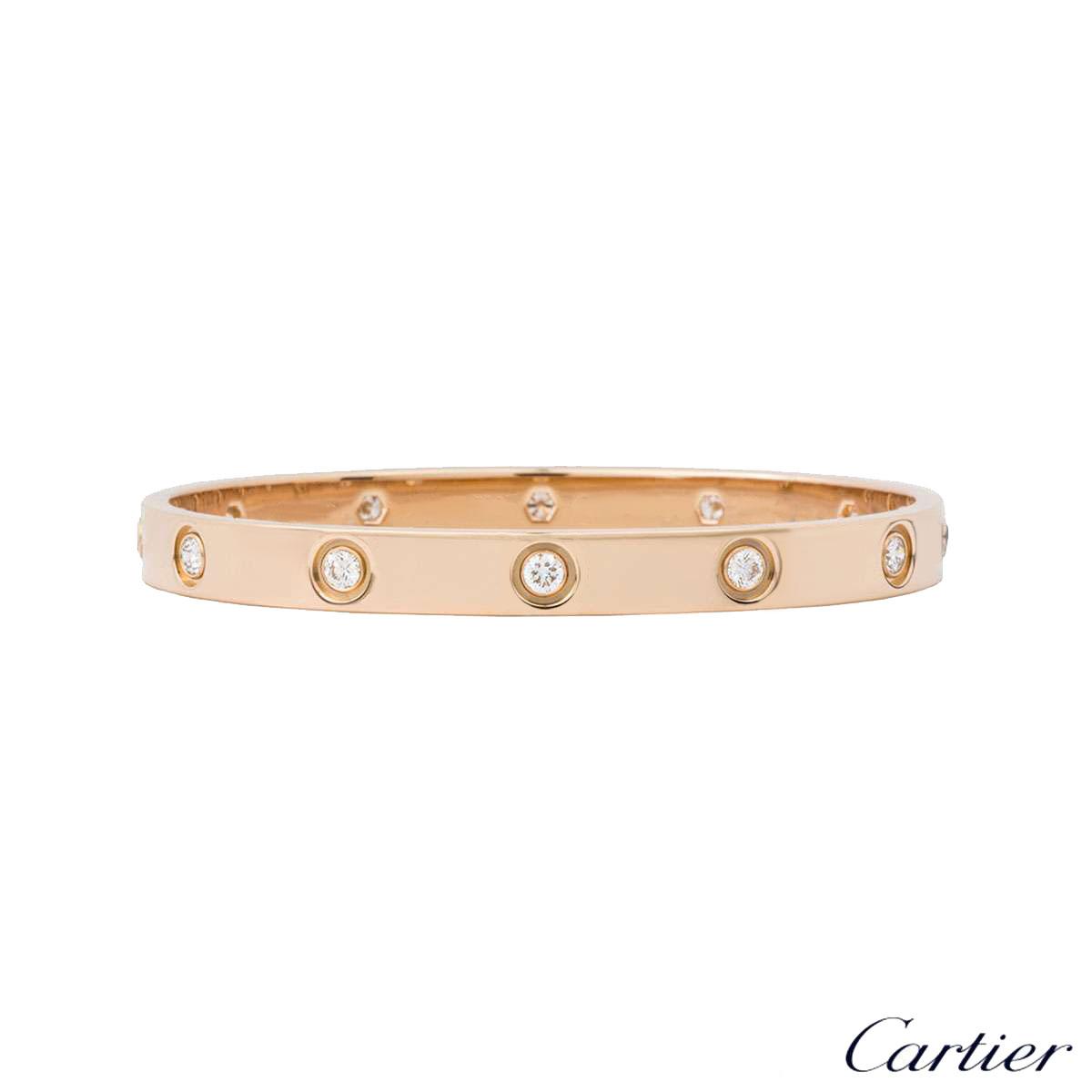 Cartier Rose Gold Full Diamond Love Bracelet Size 18 B6040618